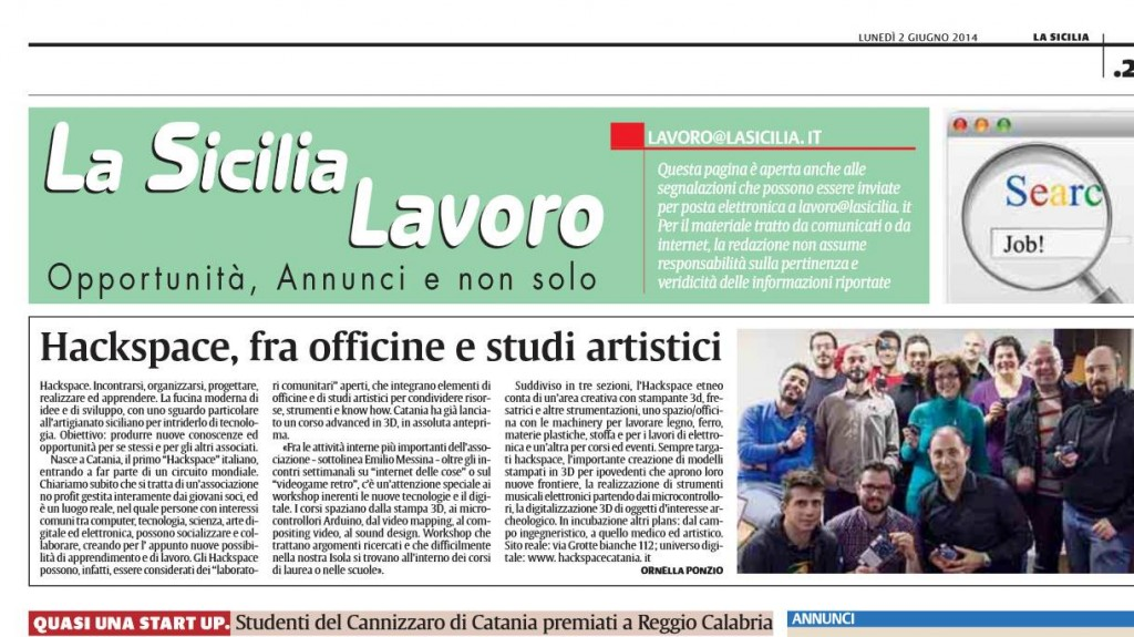 Pubblicazione sulla sicilia 2 giugno 2014